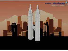 Petronas Towers - Kuala Lumpur (3 inch) in White Natural Versatile Plastic
