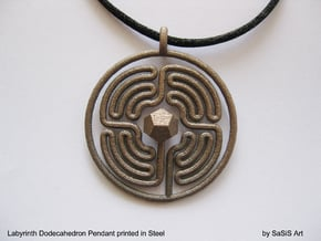 Labyrinth Dodecahedron Pendant  in Polished Bronzed Silver Steel