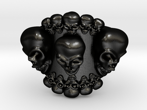 Multi Skulls Ring For Bikers And Lovers Can Be Per in Matte Black Steel