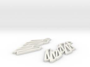 Zigzag earrings in White Natural Versatile Plastic: Large