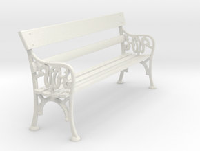VR Station Bench Seat 1:19 Scale in White Natural Versatile Plastic