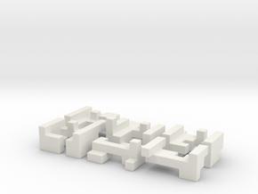 Happiness#20 puzzle cube 6 cm version in White Natural Versatile Plastic