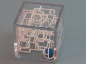 """Bare Bones"" - 3D Rolling Ball Maze in Clear Case( in White Natural Versatile Plastic"