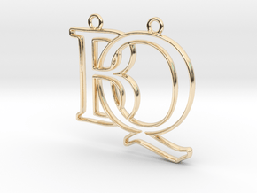 Initials B&Q monogram  in 14k Gold Plated Brass