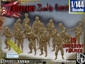 1/144 Army Zombies Set001 in Smooth Fine Detail Plastic