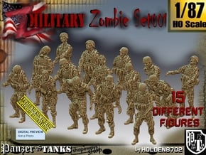1/87 Army Zombies Set001 in Smooth Fine Detail Plastic