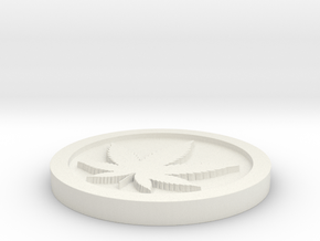 Weed/Marijuana Themed Coin/Token For Checkers, Pok in White Natural Versatile Plastic