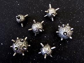 Sputnik Dice Set in Polished Bronzed Silver Steel