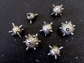 Sputnik Dice Set With Decader in Polished Bronzed Silver Steel