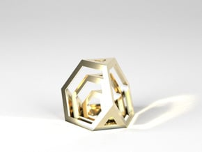 Encompassing Tetrahedron - Pendant in Polished Brass (Interlocking Parts)