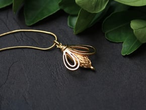 3D Printed BEE Pendant in 18k Gold Plated Brass