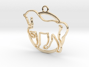 Horse & circle intertwined Pendant in 14k Gold Plated Brass