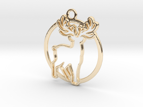 Deer & circle intertwined Pendant in 14k Gold Plated Brass