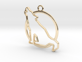 Wolf & circle intertwined Pendant in 14k Gold Plated Brass