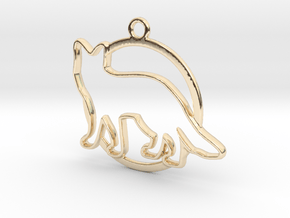 Fox & circle intertwined Pendant in 14k Gold Plated Brass