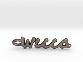 """Vertical """"Wicca"""" Word Pendant in Polished Bronzed-Silver Steel"""