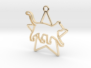 Cat & star intertwined Pendant in 14k Gold Plated Brass