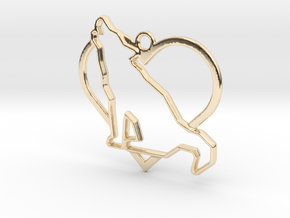 Wolf & heart intertwined Pendant in 14k Gold Plated Brass