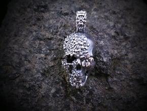 Sugar Skull Pendant in Antique Silver