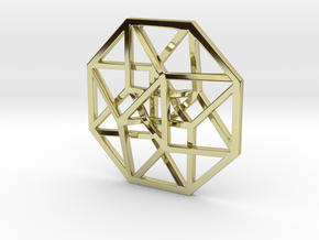 """4D Hypercube (Tesseract) small 1.4"""" in 18K Gold Plated"""