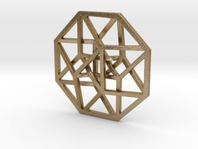 """4D Hypercube (Tesseract) small 1.4"""" in Polished Gold Steel"""