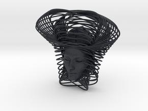 Wire Curve Art + Nefertiti (001c) in Black PA12