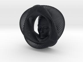 Wire Curve Art + Nefertiti (001a) in Black PA12