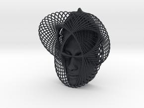 Wire Curve Art + Nefertiti (002a) in Black PA12