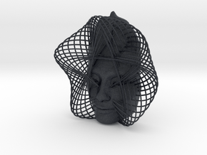 Wire Curve Art + Nefertiti (002c) in Black PA12