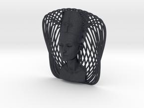 Wire Curve Art + Nefertiti (003d) in Black PA12