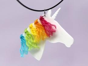 the Unicorn Pendant in White Natural Versatile Plastic