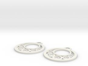 Geometrical earrings no.6 in White Natural Versatile Plastic: Large