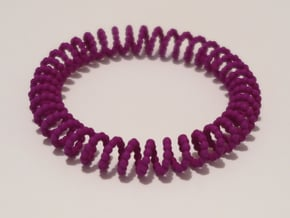 Bangle Bracelet Spiral Beads in Purple Processed Versatile Plastic
