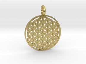 Flower of Life Sacred Geometry pendant approx 22mm in Natural Brass: Small