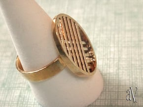 One Stripe Ring in Natural Brass: 8 / 56.75