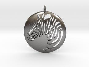 Zebra Round  Pendant  in Polished Nickel Steel