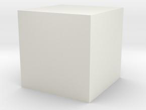 3D printed Sample Model Cube 0.5cm in White Natural Versatile Plastic: Medium