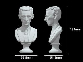 Nikola Tesla Bust Large in White Natural Versatile Plastic: Large