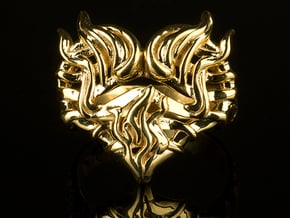 Sacred Heart Flame Jewelry Ring  in 18k Gold Plated Brass: 7 / 54