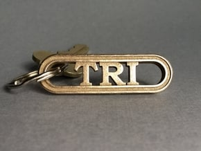 Triathlete Gift Keychain in Polished Bronzed-Silver Steel
