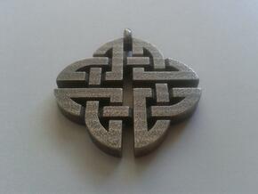 Celtic Shield Pendant 2 in Polished Bronzed Silver Steel