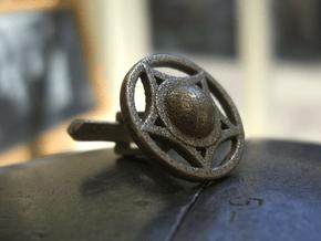 Buckler Cufflinks (14h c. Shield) in Polished Bronzed Silver Steel