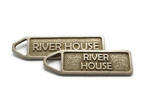 Customized Keychain in Polished Bronzed-Silver Steel