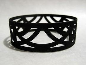 Art Deco Bangle Bracelet  in Black Natural Versatile Plastic: Small