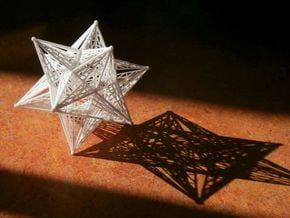 8 cm Great icosahedron in White Natural Versatile Plastic