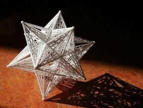 10 cm Small Stellated Dodecahedron in White Natural Versatile Plastic