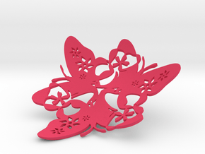 Butterfly Bowl 1 - d=11cm in Pink Processed Versatile Plastic