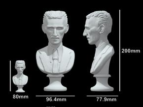 Nikola Tesla Bust XL Museum-Grade in White Natural Versatile Plastic: Extra Large
