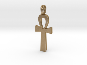 Ankh Symbol Jewelry Pendant Small 2 Cm in Polished Gold Steel