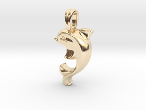 14k Gold Dolphin Necklace in 14K Yellow Gold